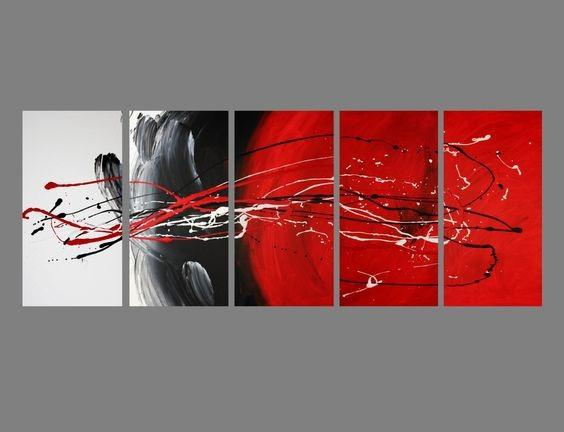 Living Room Wall Art, Black and Red, Abstract Art, Extra Large Wall ...