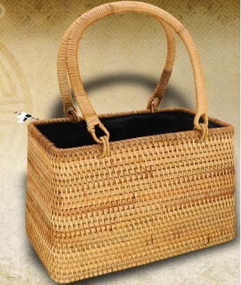 Small Vintage Woven Handbag, Vietnam Traditional Handmade Rattan Wicker Serving Basket