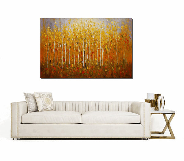 Forest Tree Oil Painting, Landscape Painting, Dining Room Wall Art