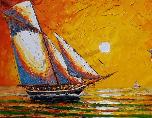 Seascape Painting, Sail Boat Painting, Acrylic Painting, Large Canvas Art