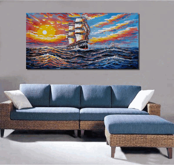 Big Ship Wave Original Painting, Seascape Painting, Art on Canvas - Silvia Home Craft