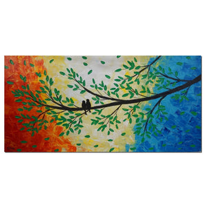 Love Birds Painting, Original Painting, Canvas Wall Art, Hang Painted Art, Wedding Gift - Silvia Home Craft
