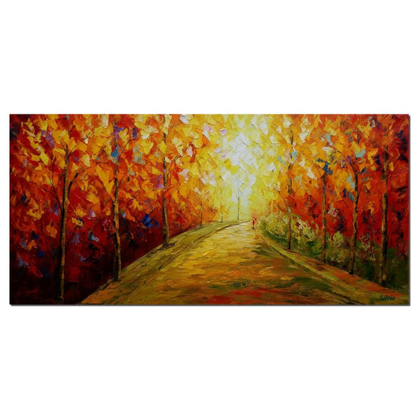 Autumn Tree Painting, Bedroom Wall Art, Canvas Art, Original Painting, Landscape Art - Silvia Home Craft