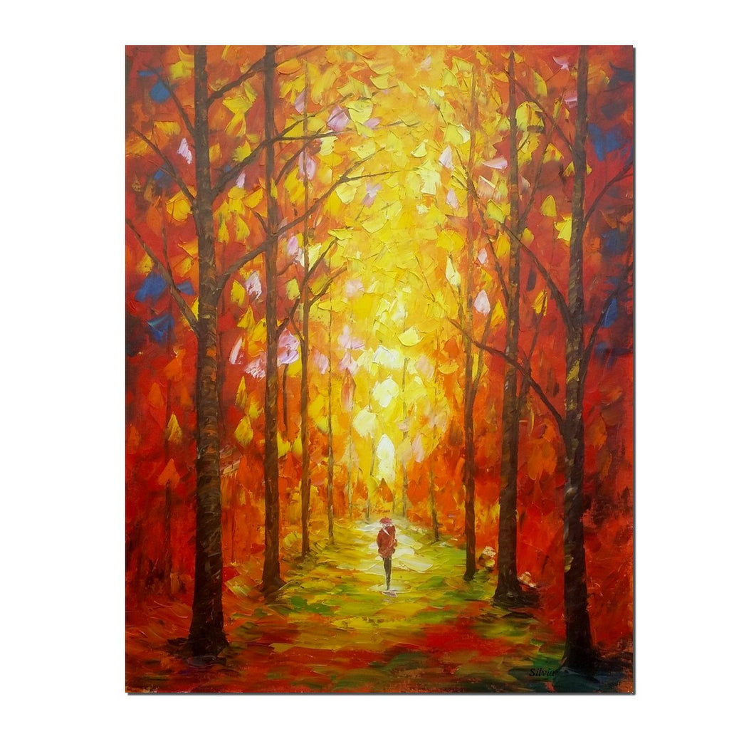 Autumn Forest Painting, Abstract Oil Painting, Bedroom Canvas ...