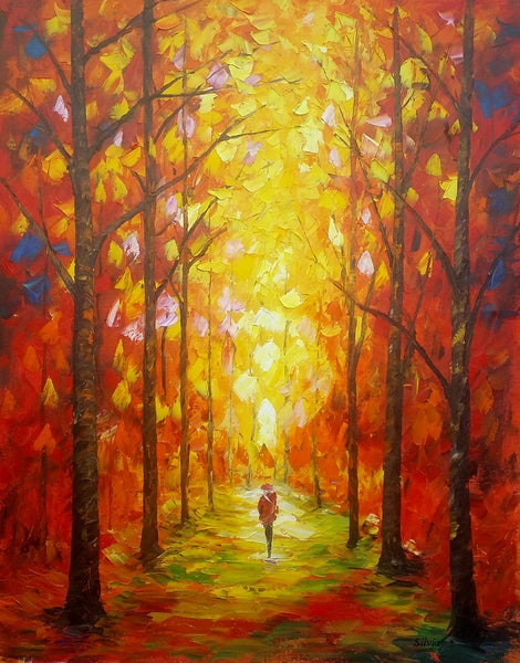 Autumn Forest Painting, Abstract Oil Painting, Bedroom Canvas Painting, Landscape Painting