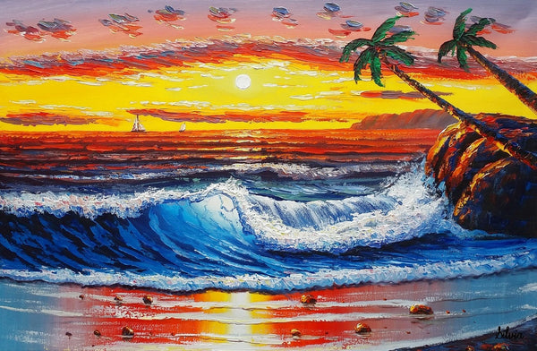 Palm Tree Painting, Canvas Painting, Large Acrylic Painting, Hawaii Seashore Painting