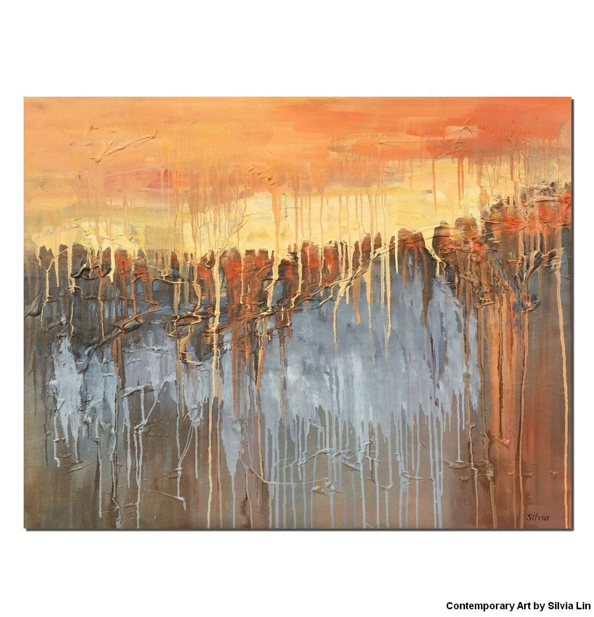 Large Art Painting, Contemporary Canvas Painting, Original Abstract Landscape Painting - Silvia Home Craft