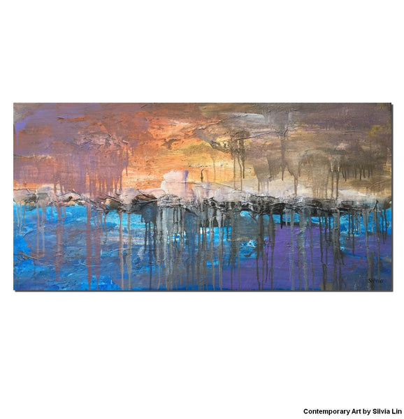 Abstract Landscape Painting, Large Wall Art, Canvas Painting, Acrylic Art