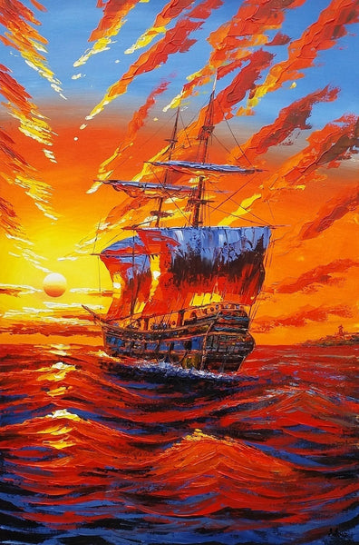 Big Ship Sunrise Painting, Canvas Wall Art, Original Painting, Dining Room Wall Art - Silvia Home Craft