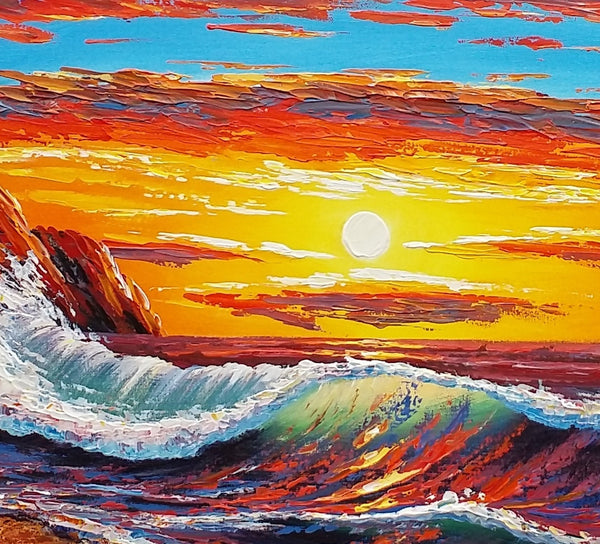 Big Wave Sunrise Painting, Canvas Art, Seascape Painting, Acrylic Art Painting - Silvia Home Craft