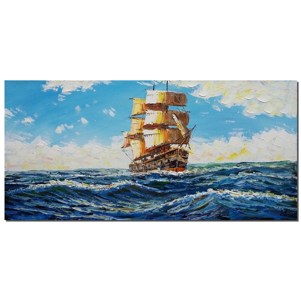 Ship Painting, Large Canvas Painting, Canvas Artwork, Seascape Painting - Silvia Home Craft