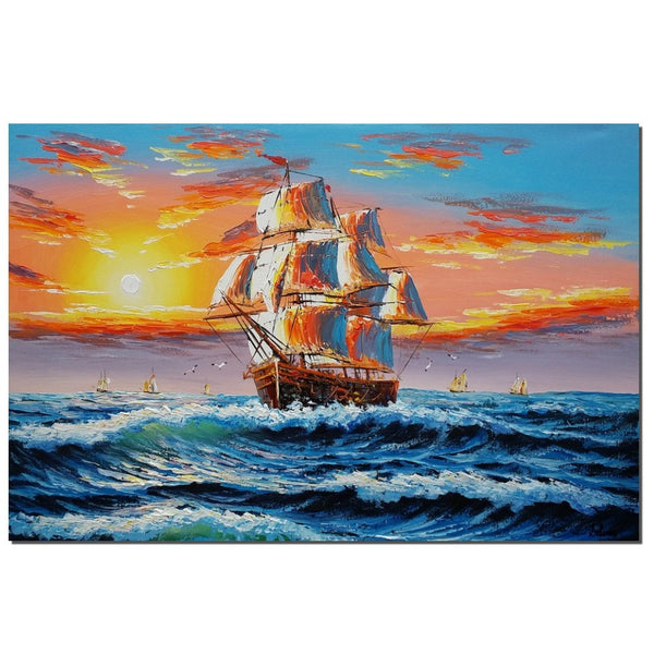 Ship Painting, Seascape Painting, Sunrise Painting, Large Wall Art - Silvia Home Craft