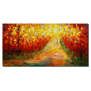 Autumn Tree Landscape Painting, Original Painting, Large Painting, Canvas Art - Silvia Home Craft