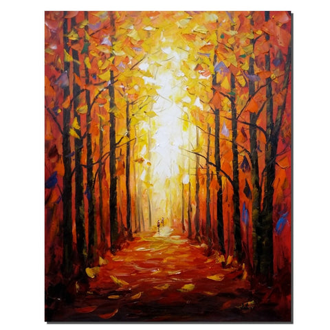 Landscape Painting, Canvas Wall Art, Oil Painting, Autumn Tree Painting