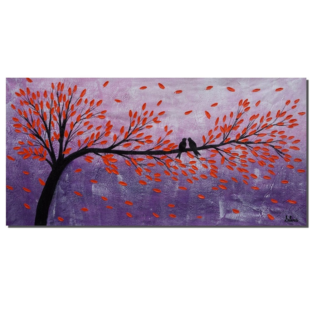 Abstract Art, Canvas Painting, Love Birds Painting, Original Painting, Bedroom Wall Art - Silvia Home Craft