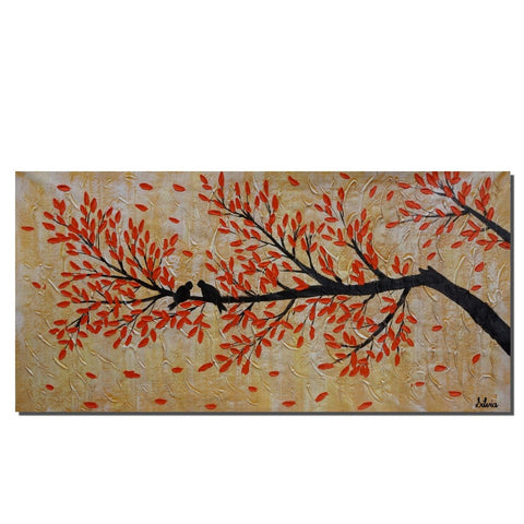 Abstract Painting, Canvas Painting, Love Birds Painting, Original Painting, Bedroom Wall Art