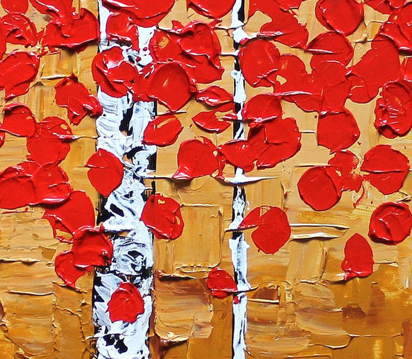 Original Painting, Abstract Landscape Painting, Birch Tree Painting, Art on Canvas