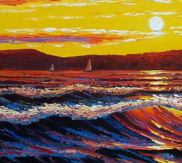 Canvas Painting, Sunrise Big Wave Original Painting, Seascape Painting - Silvia Home Craft