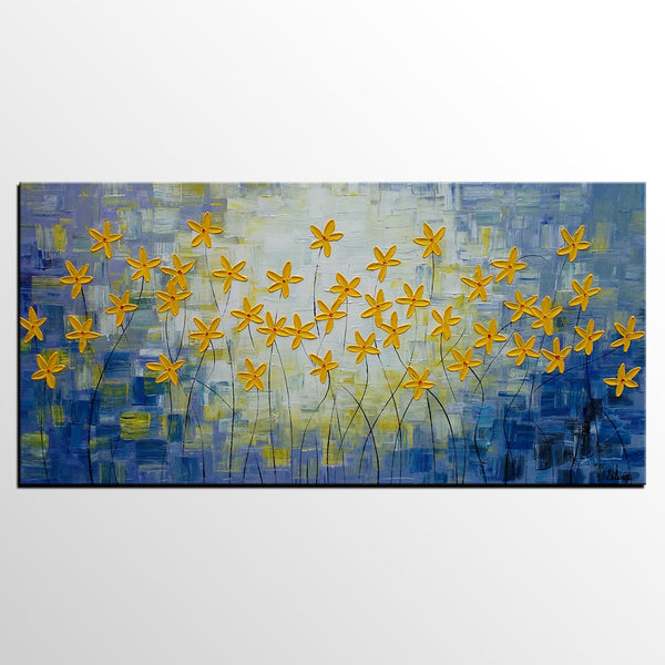 Bedroom Art, Acrylic Painting, Flower Painting, Original Painting, Bedroom Canvas Art - Silvia Home Craft