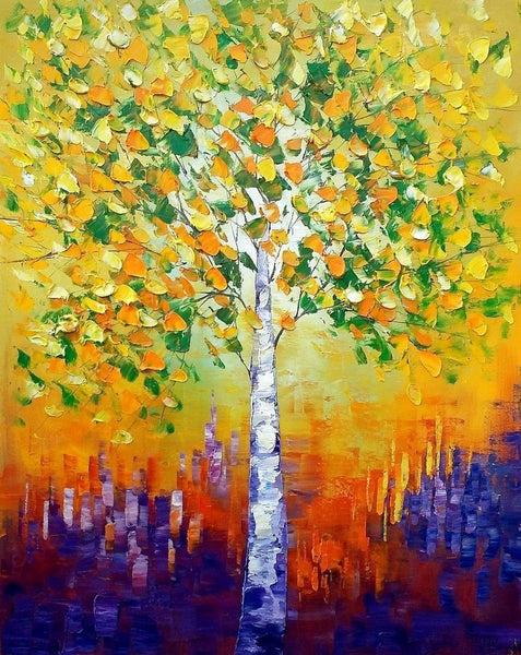 Oil Painting, Canvas Painting, Tree Painting, Canvas Art, Abstract Painting - Silvia Home Craft