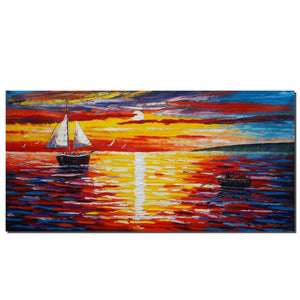 Canvas Painting, Original Art, Bedroom Wall Art, Sailing Boat, Sunrise Painting