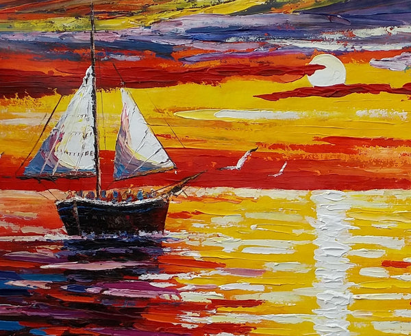 Canvas Painting, Original Art, Bedroom Wall Art, Sailing Boat, Sunrise Painting - Silvia Home Craft
