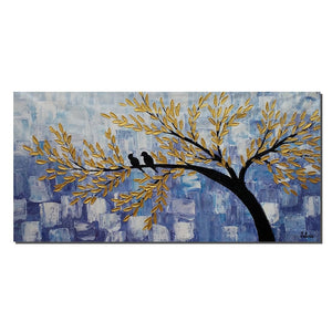 Love Birds Painting, Abstract Canvas Painting, Original Acrylic Wall Art - Silvia Home Craft