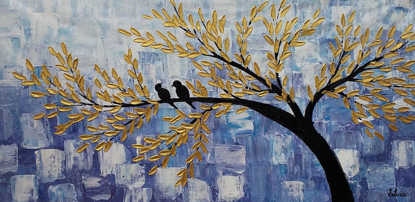 Love Birds Painting, Abstract Canvas Painting, Original Acrylic Wall Art