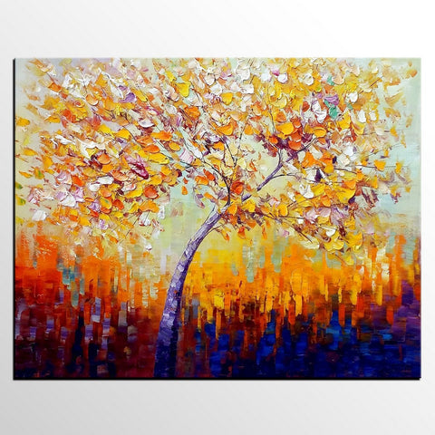 Canvas Painting, Oil Painting, Tree Painting, Large Painting, Bedroom Wall Art
