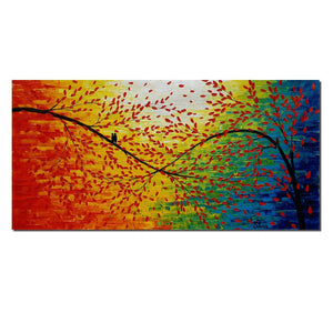 Love Birds Painting, Abstract Canvas Art, Original Acrylic Painting, Bedroom Wall Art