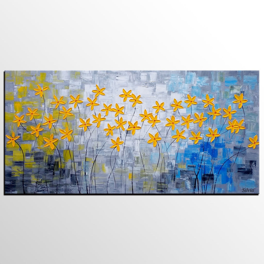 Flower Painting, Original Painting, Acrylic Painting, Dining Room Canvas Art  ...