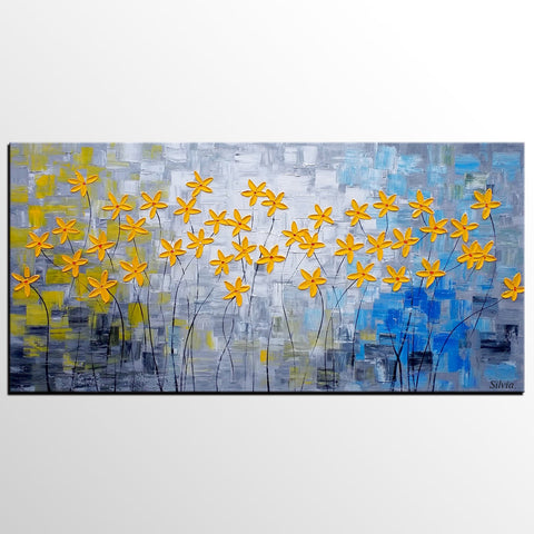 Flower Painting, Original Painting, Acrylic Painting, Dining Room Canvas Art