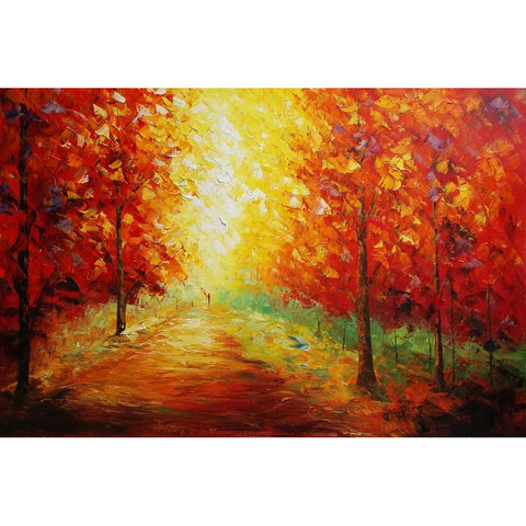 Autumn Tree Landscape Painting, Living Room Wall Art, Canvas Painting - Silvia Home Craft