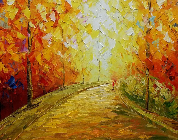 Autumn Tree Painting, Bedroom Wall Art, Canvas Art, Original Painting, Landscape Art