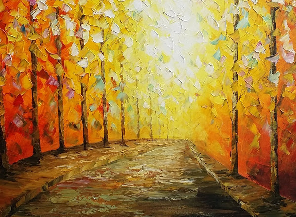 Living Room Canvas Painting, Autumn Landscape Painting, Original Oil Painting - Silvia Home Craft