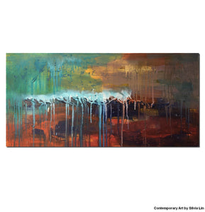 Abstract Landscape Paintnig, Abstract Art, Original Art, Canvas Wall Art - Silvia Home Craft