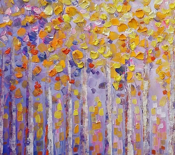 Birch Tree Painting, Abstract Painting, Dining Room Wall Art, Landscape Oil Painting