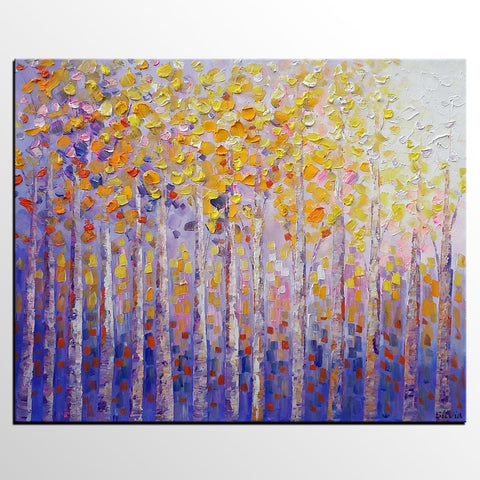 Birch Tree Painting, Abstract Painting, Dining Room Wall Art, Landscape Oil Painting - Silvia Home Craft