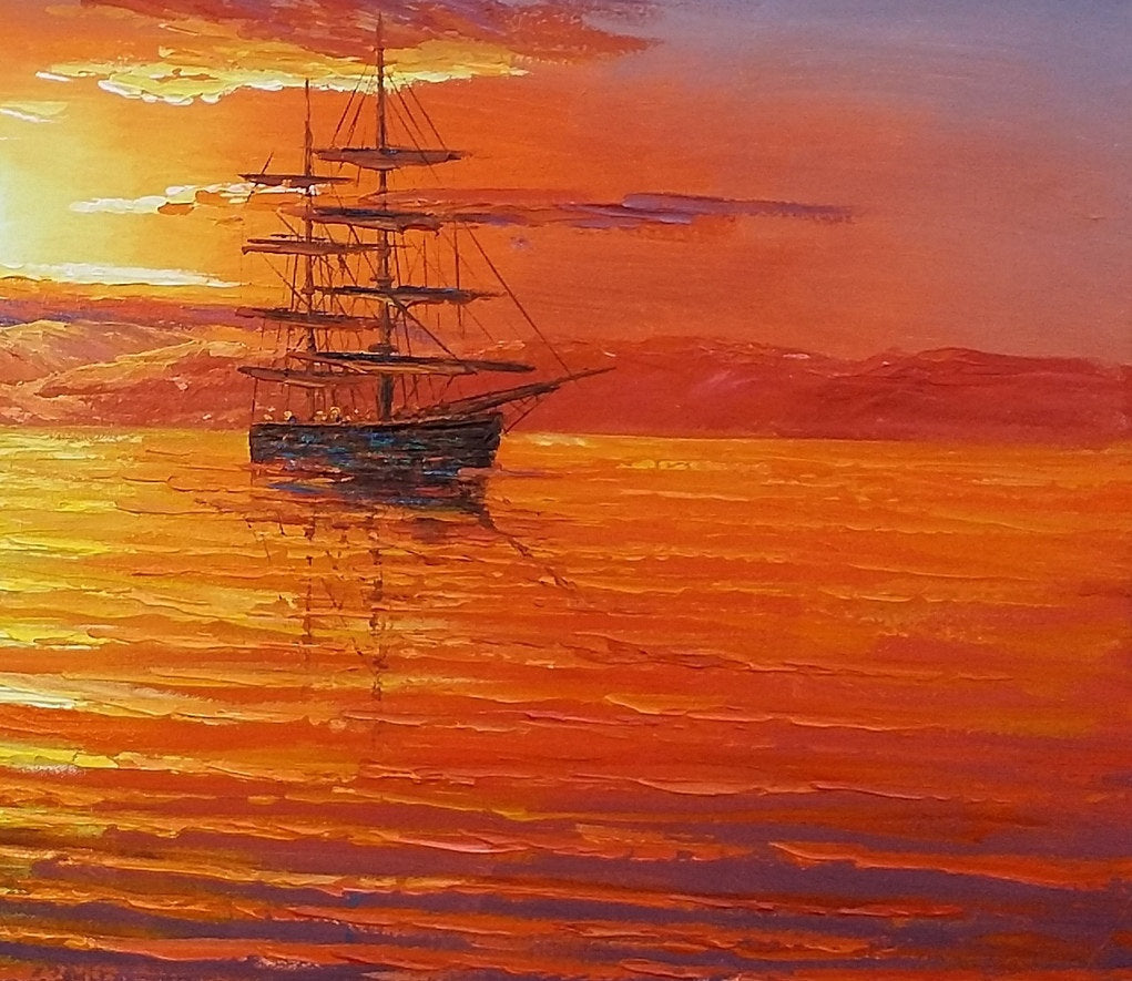 Big Ship Painting Sunset Painting Canvas Painting
