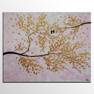 Bird Painting, Canvas Art, Abstract Original Painting, Bedroom Wall Art - Silvia Home Craft