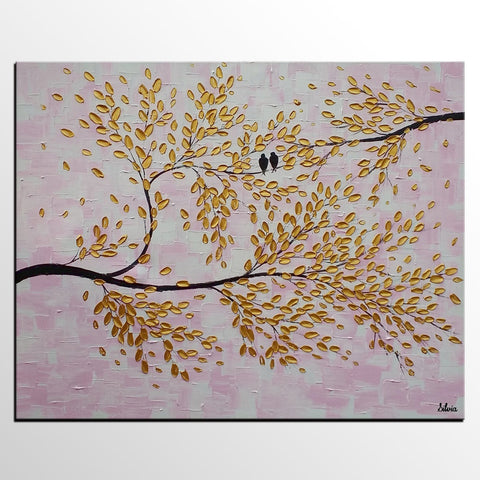 Bird Painting, Canvas Art, Abstract Original Painting, Bedroom Wall Art