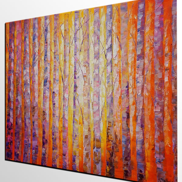 Bedroom Wall Art, Birch Tree Painting, Canvas Painting, Abstract Landscape Art - Silvia Home Craft