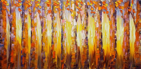 Original Oil Painting, Heavy Texture Art, Abstract Landscape Art, Birch Tree Painting