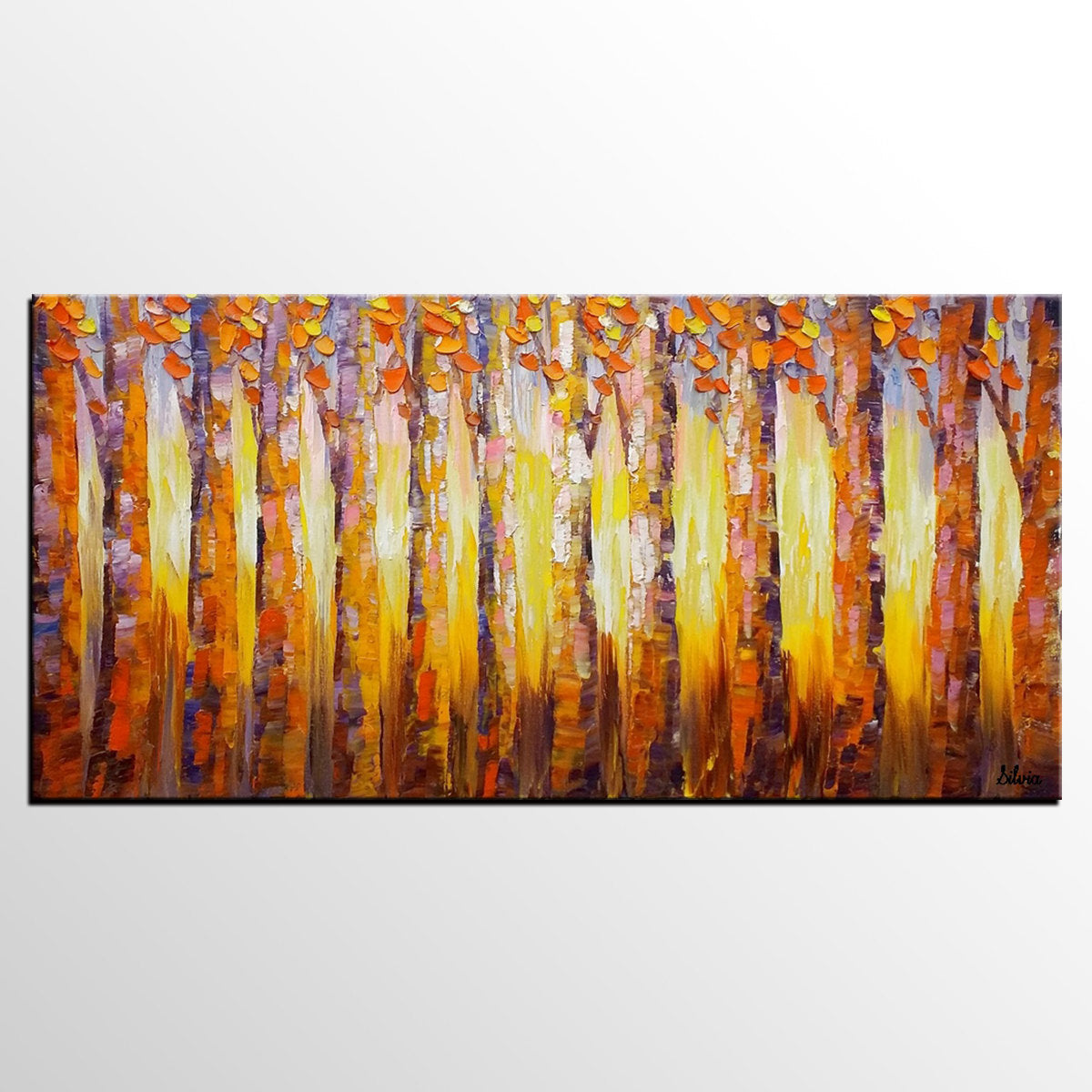 Original Oil Painting, Heavy Texture Art, Abstract Landscape Art, Birch Tree Painting - Silvia Home Craft