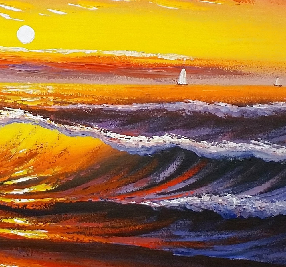 Sunset Palm Tree Painting Landscape Abstract Artwork Oil Canvas
