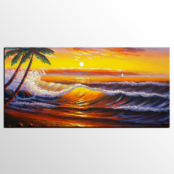 Sunset Palm Tree Painting, Landscape Painting, Abstract Artwork, Oil Painting, Canvas Painting - Silvia Home Craft