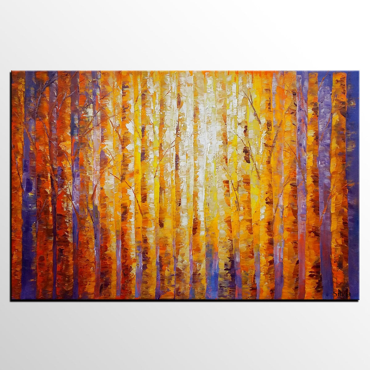 Birch Tree Painting, Original Oil Painting, Abstract Landscape Art, Canvas Art - Silvia Home Craft