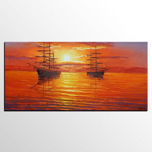 Big Ship Painting, Sunset Painting, Canvas Painting, Original Painting