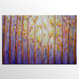 Landscape Painting, Canvas Wall Art, Large Oil Painting, Forest Tree Art