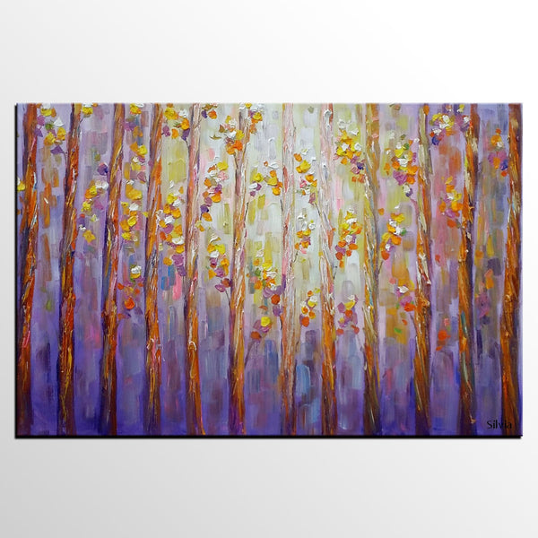 Landscape Painting, Canvas Wall Art, Large Oil Painting, Forest Tree Art - Silvia Home Craft